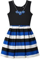 Knitworks Girls 7-16 & Plus Size Pleated Striped Skater Dress