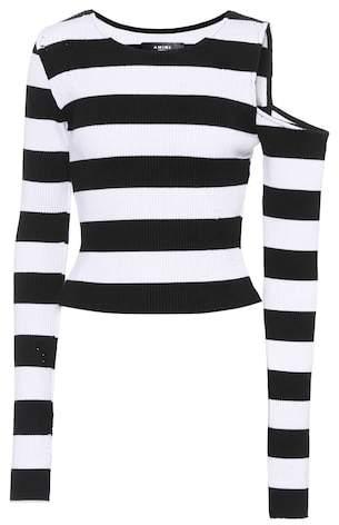 Amiri Striped cotton and cashmere top