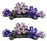 B.ella Set of 2 Flower Barrettes In Same Color, Medium Small Barrettes with French Clip Clasp YY86400-12-2purple