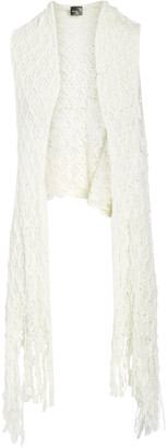 Lvs Collections LVS Collections Women's Sweater Vests WHITE - White Fringe Hollow Crocheted Open Vest - Women