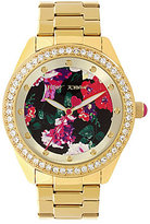 Betsey Johnson Floral Analog Stainless Steel Bracelet Watch