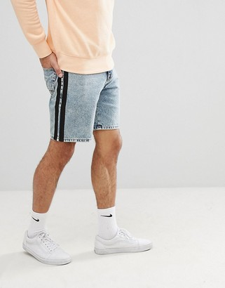 Asos DESIGN Denim Shorts In Slim Light Wash Blue With Black Side Stripe