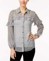 Style and Co Ruffled Checkered Blouse, Created for Macy's