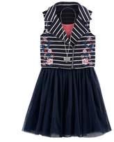 Knitworks Girls 7-16 Embroidered Flower Striped Moto Vest & Skater Dress Set with Necklace