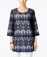 Alfani PRIMA Embroidered Illusion Tunic, Only at Macy's