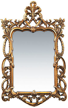 """One Kings Lane Floral 48""""x29"""" Scroll Mirror - Gold"""