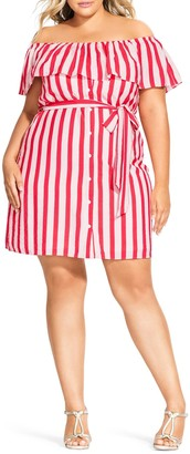 City Chic Stripe Belted Off the Shoulder Minidress