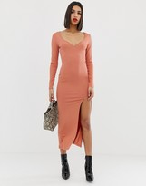 Asos Design DESIGN rib maxi dress with sweetheart neck and split