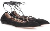 Valentino Garavani Rockstud lace-up suede ballerinas