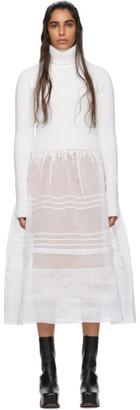 Loewe White Rib Knit and Organdy Dress