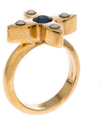 Louis Vuitton Love Letter Crystal Gold Tone Ring Size 54.5