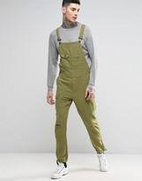 Asos Overalls In Khaki Linen