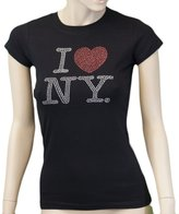 NYC FACTORY I Love NY New York Womens T-Shirt Ladies Rhinestone Tee Heart (Fitted M...