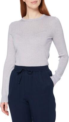 Meraki Women's Fine Merino Wool Crew Neck Jumper Grey (Light Grey Marl) XXXL (US 18)