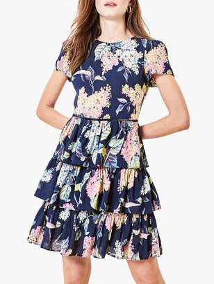 Oasis Blossom Tiered Dress, Multi/Blue