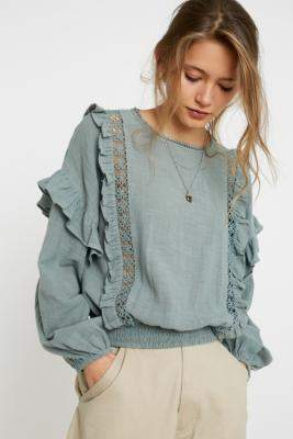Urban Outfitters Victoriana Eyelet Blouse - blue XS at