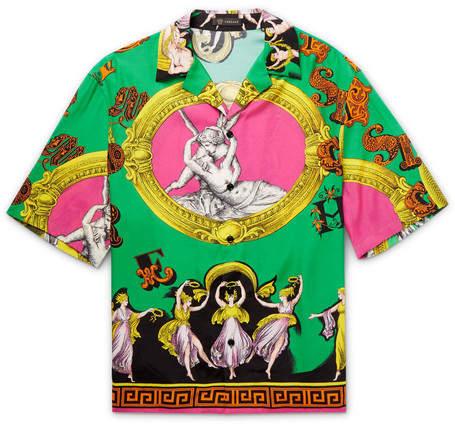 Versace Camp-Collar Printed Woven Shirt