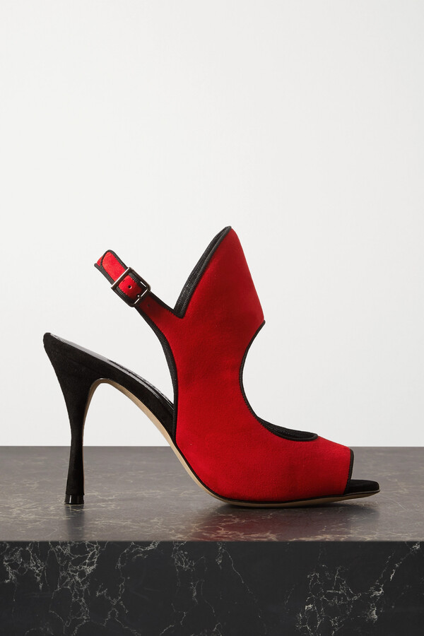 Manolo Blahnik Gloriana Cutout Suede Sandals - Red