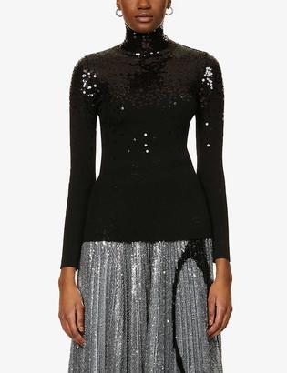 Valentino Sequinned high-neck wool jumper