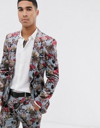 Asos Design DESIGN super skinny suit jacket in blue floral print velvet