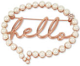 Betsey Johnson Rose Gold-Tone Pave & Imitation Pearl Hello Bubble Pin
