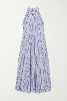 Apiece Apart Nissi Striped Crinkled Cotton-gauze Maxi Dress - Light blue