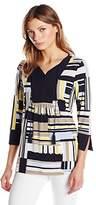 Jones New York Women's Allover Stripe 3/4 Slv Tunic