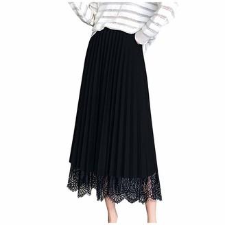 Udoit Women Spring Summer Lace Elastic High Waist Long Mesh Skirt Womens Pleated Dress Black