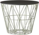 ferm LIVING Medium Wire Basket - Dusty Green with Black Lid