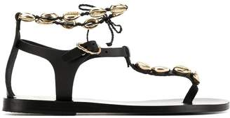 Ancient Greek Sandals chrysso shell flat sandals