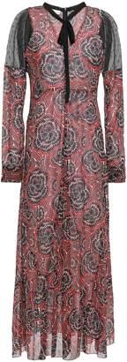 RED Valentino Bow-detailed Point D'esprit-paneled Silk-blend Midi Dress