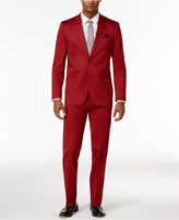 Ben Sherman Men's Slim-Fit Stretch Comfort Red Solid Suit
