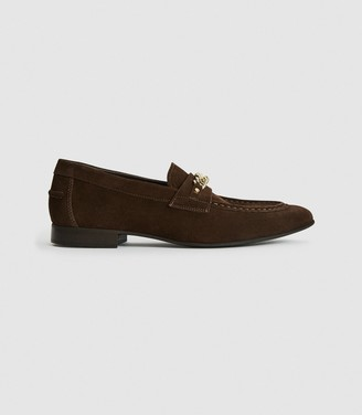 Reiss Lex - Suede Loafer With Chain Detail in Brown