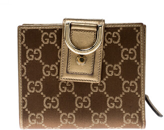 Gucci Brown/Gold Satin and Leather D Ring Compact Wallet