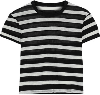 RtA Cropped Striped Cotton And Cashmere-blend Jersey T-shirt