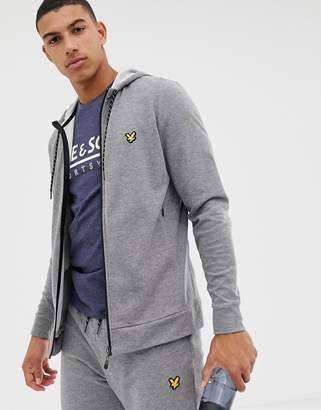 Lyle & Scott Fitness light weight training hoodie in mid grey marl