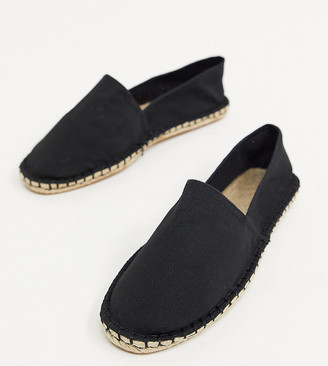 ASOS DESIGN Wide Fit espadrilles in black canvas