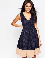 Hazel Midi Skater Dress in Polka Dot Print