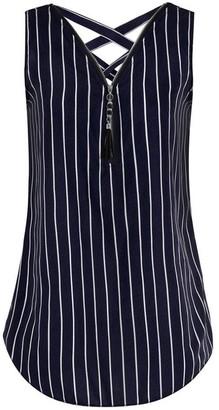 Kobay Women Loose Sleeveless Tank Top Cross Back Hem Layed Zipper Sexy V-Neck Ladies Summer Plus Size T Shirts Tops Black Blue Green Red White PinkPurple Wine Mint Green Army Green
