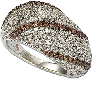 Suzy Levian Sterling Silver Pave White & Chocolate CZ Ring