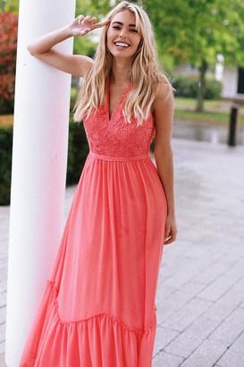Little Mistress Casey Grapefruit Crochet Maxi Dress