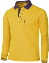 BCPOLO Men's Athletic Polo Dri-Fit Long Sleeve Polo Shirt- L