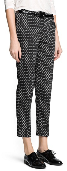 MANGO Outlet Scarf Print Cropped Trousers