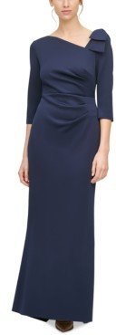 Jessica Howard Petite Asymmetrical-Neck Gown
