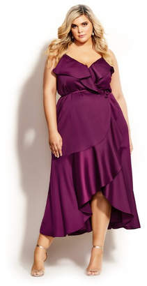 City Chic Ruffle Amore Maxi Dress - cerise