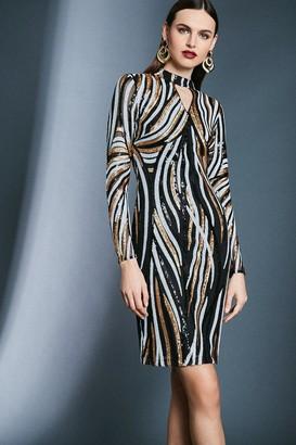 Karen Millen Sequin Keyhole Long Sleeve Dress