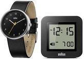 Braun Men's Gift Set: Quartz Watch with Black Dial Analogue Display and Black Leather Strap with Digital Alarm Clock BN0231BKBK/BNC018BK