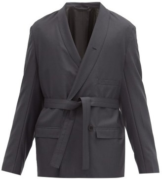 Lemaire Double-breasted Canvas Blazer - Dark Grey