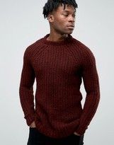 Pull&Bear Chunky Knit Sweater In Burgundy