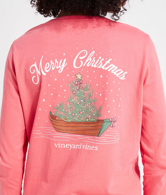 Vineyard Vines Tree and Boat Long-Sleeve Pocket Tee